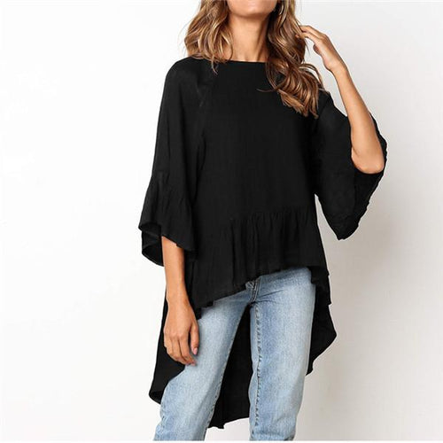 Fashionable Round Collar Irregular T Shirt
