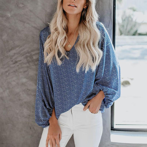 Stylish Sexy V Collar Wave Point Shirt