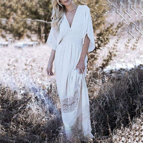 Bohemia Beach Vacation Style Cotton Wrinkle V Collar Maxi Dress