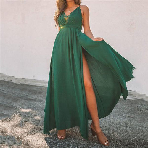 Sexy V Neck Split Maxi Dresses