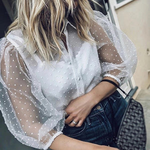 Commuting Turndown Collar See-Through Pure Colour Blouse