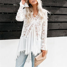 Sexy V Neck Lace Stitching Shirt