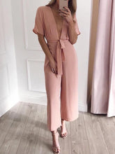 Commuting V Neck Short Sleeve Belted Pure Colour Jumpsuit