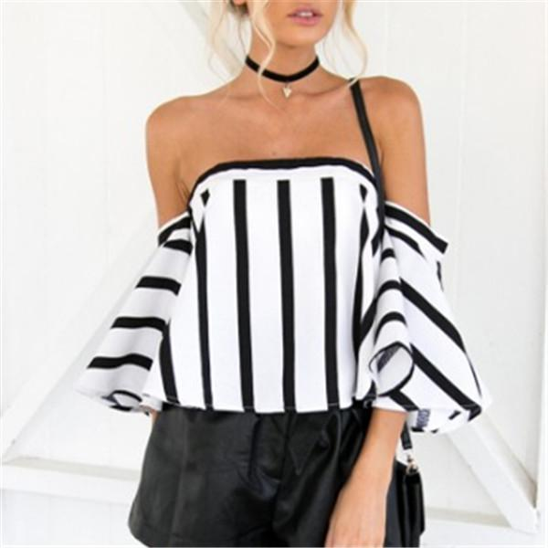 Sexy One Word Collar Striped Horn Sleeve T Shirt