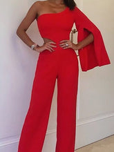 Commuting Sloping Shoulder Bare Back Bell Sleeve Pure Colour Jumpsuit