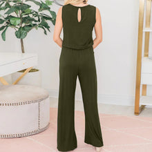 Sexy Solid Color Round Neck Sleeveless Jumpsuit