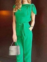 Commuting Belted Pure Colour Bowknot Irregular Jumpsuit