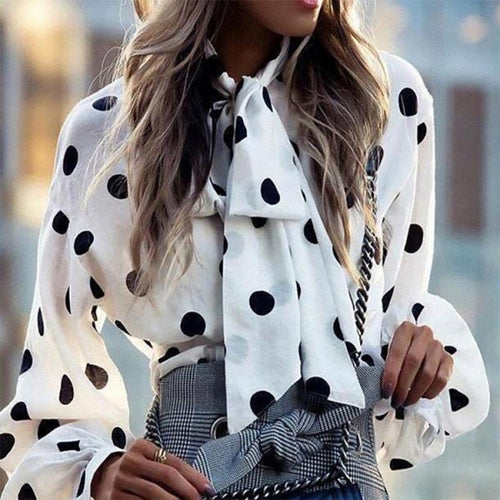 Commuting Chiffon Bowknot Polka Dot Long Sleeve Blouse
