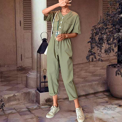 Commuting V Neck Pure Colour Elastic Single-Breasted Short Sleeve Jumpsuit