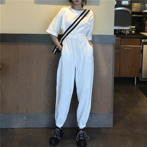 Commuting Round Neck Pure Colour Belted Short Sleeve Elastic Jumpsuit