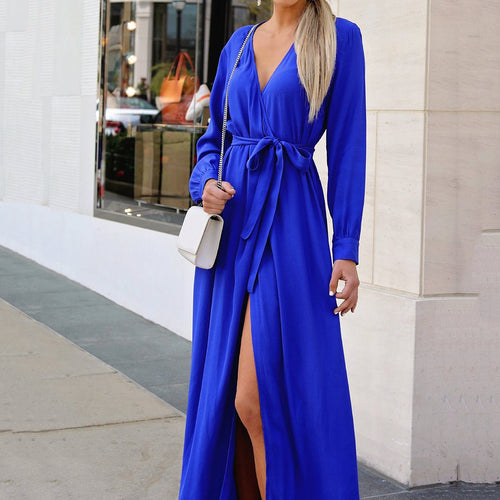 Sexy Pure Color V Collar Open Slit Dress