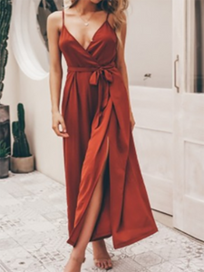 Sexy Sling Deep V Solid Color Jumpsuits