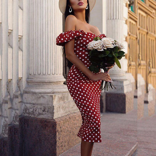 Sexy Boat Neck Polka Dot Off-Shoulder Bare Back Splicing Dress