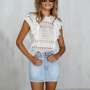 Sexy Lace Hollow Out Ruffled Sleeveless Tank Top