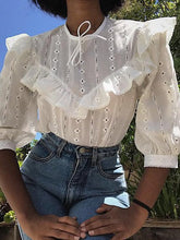 Sweet Ruffled Splicing Pure Colour Embroider Blouse