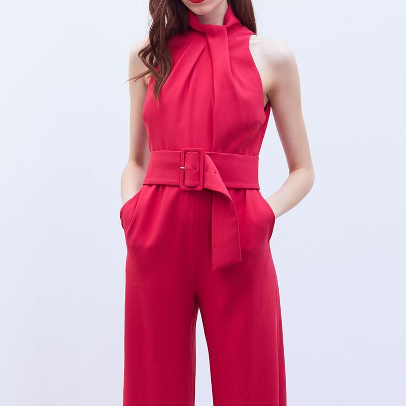 Commuting Sleeveless Pure Colour Jumpsuits