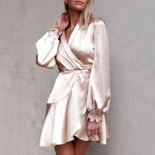 Commuting V Neck Long Sleeve Pure Colour Irregular Dress