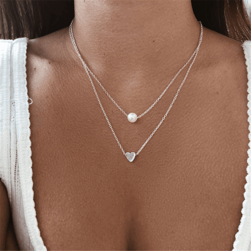 Sleek Minimalist Alloy   Heart-Shaped Pearl Necklace