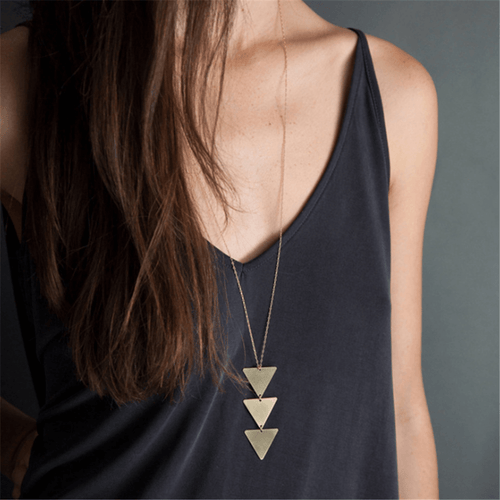 Fashion Trendy Simple   Triangle Necklace