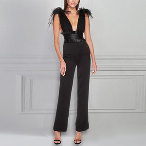 Sexy Deep V Neck Splicing Grenadine Pure Colour Jumpsuits