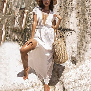Casual V Neck Short Sleeve Pure Colour Bare Back Dress