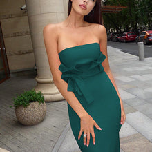 Commuting Sleeveless Off-Shoulder Bare Back Bowknot Dress