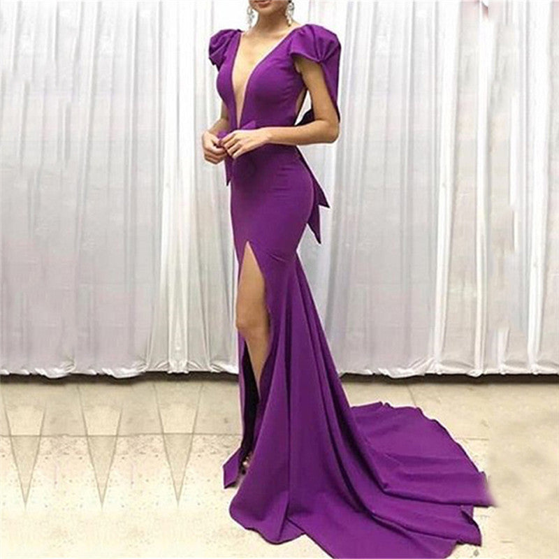 Sexy Deep V Neck Split Mop Up Evening Dresses