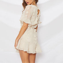 Elegant Round Neck Belted Ruffled Splicing Short Sleeve Dress