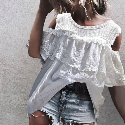 Sexy Off Shoulder Lace Stitching Lotus Leaf Shirt