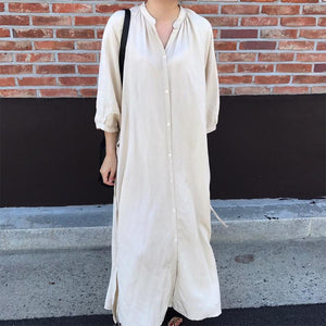 Casual Pure Color Loose Single-Breasted Shirt Dress