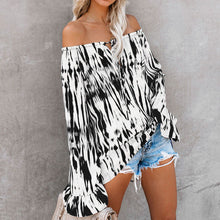 Fashion One Word Shoulder Print Long Sleeve T-Shirt