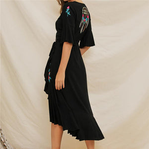 Fashion V Neck Embroidery Irregular Lotus Leaf Edges Vacation Dress