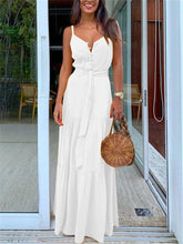 Sexy V Neck Buckle Sling Vacation Maxi Dresses