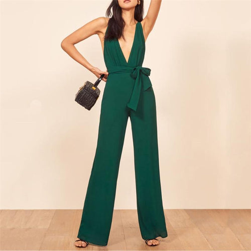 Sexy Deep V Collar Sleeveless Frenulum Jumpsuits
