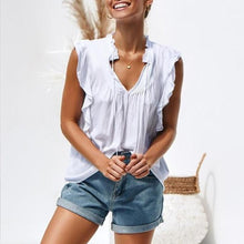 Fashion V-Neck Pure Color Short Sleeves Flouncing T-Shirt