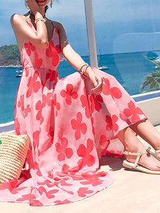 Bohemian Printed Colour Bare Back Sling Maxi Dresses