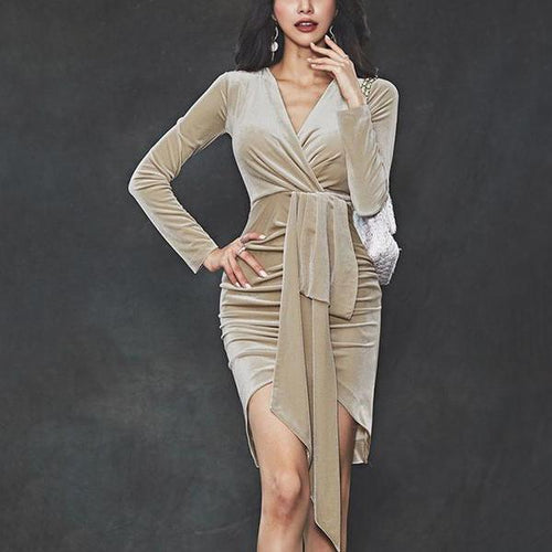 Casual V neck pleuche   long sleeved Mini sexy Bodycon dress