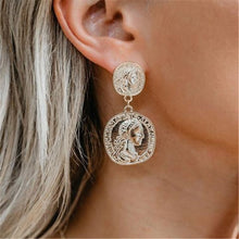 Fashion Vintage Embossed Gold Coin Metal Earrings