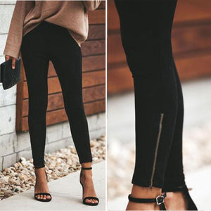 Autumn And Winter   Fashion Zipper Solid Color Small Foot Trim Nine Cent Trousers