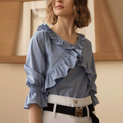 Elegant  Lovely Cross Flouncing Plain Blouses