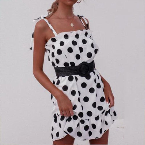 Casual Ruffled Polka Dot Elastic Braces Mini Dress
