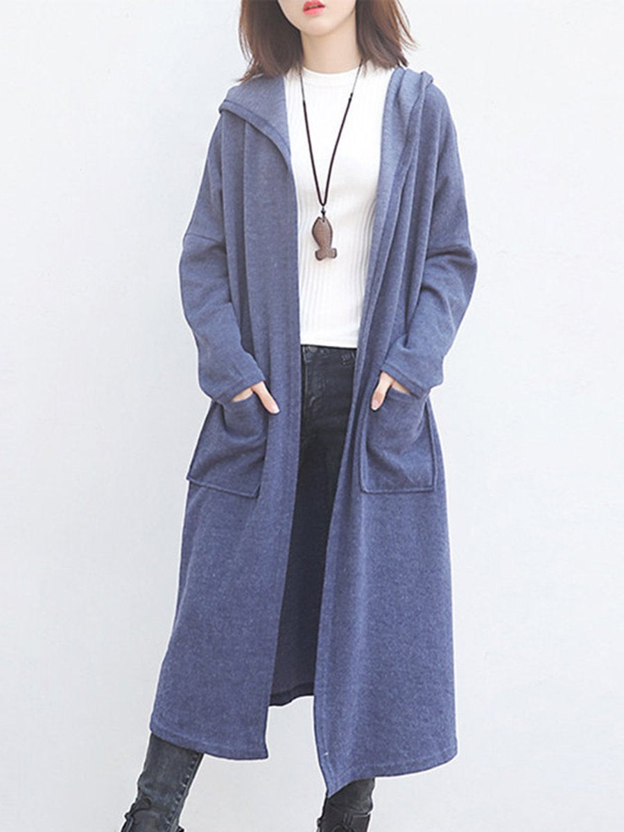 Hooded  Patch Pocket  Plain Trench Coat