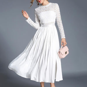 Fashion Lace Hollow Out Crochet Splicing Casual Dresses