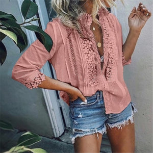 Sexy Lace Stitched Loose Shirt