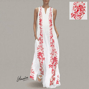 Chinese Stype Red Flower Printed Maxi Shift Dress