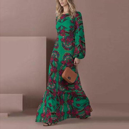 Elegant Green Long-Sleeved Printed Maxi Dress