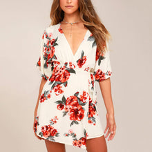 White Stylish Short Sleeves Floral Print Mini Dress
