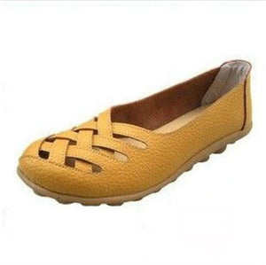 Fashion New Women's Soft Bottom Leather Personality Hollow Breathable Mother Single Shoes