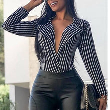 Fashion Stripe V Neck Long Sleeve Shirt Blouse