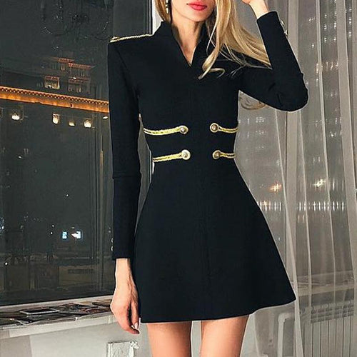 Commuting Stand Collar Long Sleeve Splicing Dress